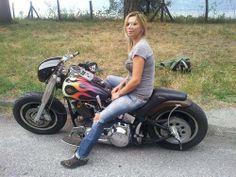 A steel cowgirl Lady Biker, Biker Girl, Women Riding Motorcycles, Harley Motorcycles, Biker Chick, Vintage Bikes, Before Us, Motorbikes, Harley Davidson