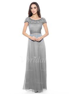 Mother of the Bride Dresses - $162.01 - A-Line/Princess Scoop Neck Floor-Length Chiffon Mother of the Bride Dress With Ruffle Beading Sequins (0085057331)