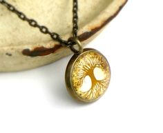 tiny tree necklace  brown tree of life  small by SeedandSky, $25.00