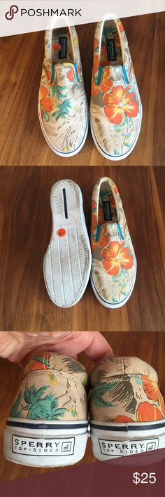 Sperry Top-Sider Sneakers Canvas slip on sneakers with tropical floral print. Light smudging in rubber outsole. Men's sizing. Sperry Top-Sider Shoes Sneakers