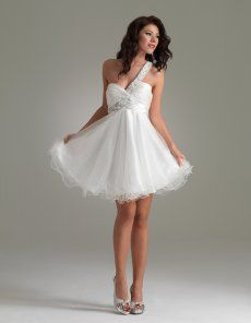 White Ball Gown One Shoulder Mini Length Zipper Cocktail Dresses With Ruffles and Beads