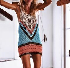 Crochet Dress Woman Clothing Multicolor Beachwear Mini Dress