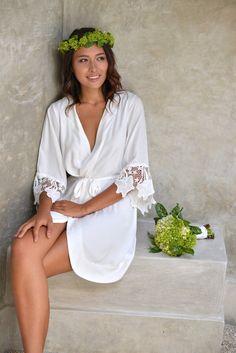 Sylvie Lace Sleeve Short Kimono Robe Ivory Lace Bridal by Piyama