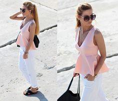 Choies Pink Low Cut Peplum Blouse, Zara Jeans, Bershka Bag, H&M Bio Sandals, Choies Sunglasses With Metal Arrow, Parfois Watch, Zara Necklace