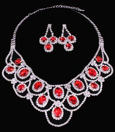 Ruby Red Crystal Rhinestone Oval Stone Lace Formal Wedding Bridal Prom Silver Necklace Set Elegant Costume Jewelry
