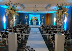 How spectacular does this ceremony look? Location is the Holiday Inn at Lake Buena Vista! www.diamondreceptions.com Lake Buena Vista, Orlando Wedding, Event Design, Wedding Planning, Table Decorations, How To Plan, Receptions, Holiday, Diamond