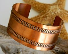 Vintage Wide Solid Copper Cuff Bracelet Embossed Moon Design #starfisher   	$25.95