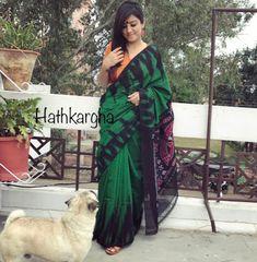 Adorable ikkat cotton temple border sarees with blouse piece Ikkat Pattu Sarees, Handloom Saree, Elegant Saree, Indian Ethnic Wear, Cotton Saree, Long Tops, Trendy Fashion, Kimono Top, Women Wear