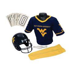 Franklin Ncaa West Virginia University Mountaineers Deluxe Football Uniform Set, Boy's, Size: S/M, Multicolor