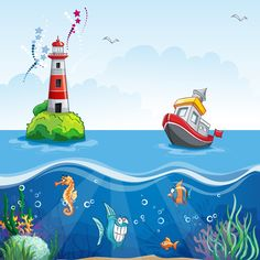 illustration in cartoon style of a ship at sea and fun fish Murals For Kids, Art For Kids, Orla Infantil, Decoration Creche, Cartoon Sea Animals, School Murals, Wall Murals, Wall Art, Cartoon Background