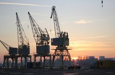 Old cranes from the port of Antwerp