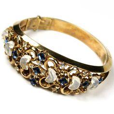 Trifari 'Alfred Philippe' 'Clair de Lune' Moonstone and Sapphire Bangle Bracelet | eBay