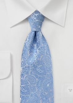 Metallic Paisley Tie in Blues and Silvers - Does your wardrobe need a smidgen of sophistication? This silver and light blue paisley jacquard necktie will dress up Blue Ties, Blue Bow, Paisley Wedding, Paisley Tie, Designer Ties, Blue Wedding Invitations, Himmelblau, Wedding Colors, Wedding Blue