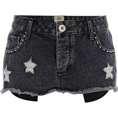 River Island Black Denim Distressed Star Shorts ($57) ❤ liked on Polyvore