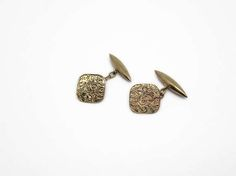 Vintage Gold Cuff Links with Engraved Leafy Pattern. ART DECO