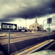 Gilbert Arizona LDS (Mormon) Temple Construction Photograph. I love this angle! The one way sign is cool. In each of our lives there really is only one way to happiness and joy and that is the temple.