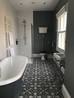 Victorian grey period bathroom cast iron bath in 2019 Victorian bathroom, Bathroom, Small bathroom White Bathroom, Modern Bathroom, Bathroom Ideas, Master Bathroom, Bathroom Organization, Bathroom Designs, Bathroom Vanities, Dark Grey Bathrooms, Small Bathroom Inspiration