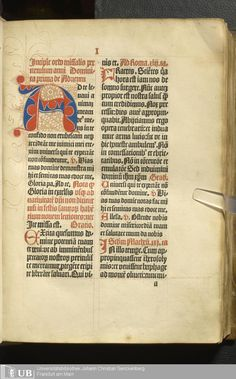 A parti-colored initial in red and blue with pen flourishes. MS. Carm. 4 [31] 14r (Nr. 2 - Missale Basiliense). Goethe-Universität Frankfurt am Main. Copyright Goethe-Universität.