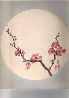 Triangle instead if circle Japanese Painting, Chinese Painting, Chinese Art, Japanese Art, Chinese Brush, Watercolor Flowers, Watercolor Paintings, Watercolor Tattoos, Cherry Blossom Painting