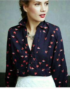 Anthropologie Maeve Blue Fox Print Button down 3/4 Sleeve shirt Blouses Sz. 10 #Anthropologie_Maeve #Blouse #Casual