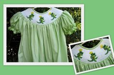 Girls green seersucker alligator smocked dress by Sweetpeaclothes, $31.00