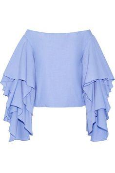 Rosie Assoulin   Bidi Bidi Bom Bom off-the-shoulder ruffled cotton-poplin top   NET-A-PORTER.COM: