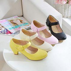 zapatos de las mujeres del dedo del pie chuncky mary jane talón ronda zapatos de las bombas más colores disponibles - USD $ 29.99