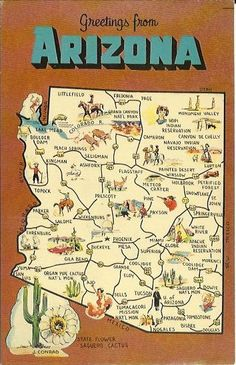 Vintage State Map Postcard Arizona State By Postcardsintheattic - Arizona state map