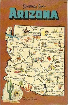 Vintage State Map Postcard Arizona State by postcardsintheattic, $3.95