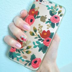 Pale pink Rifle Paper Co. Spring inspired gel manicure. #floral #nails #nailart…