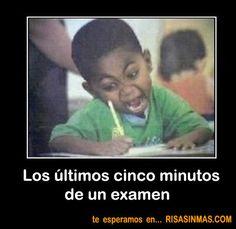 Los cinco últimos minutos de un examen.