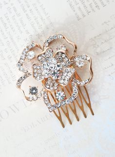 Rose Gold Wedding Flower Hair Comb, Accessories, Rose Gold Hair Comb, Pink Gold, Champagne, Crystal, Garden Flower Comb, by ColorMeMissy, www.colormemissy.com