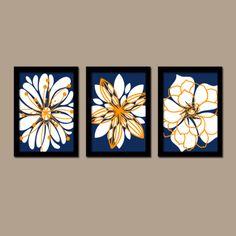 Navy Blue Orange White Flower Burst Outline Dahlia by trmDesign, $25.00