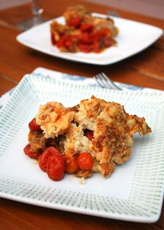 Cobbler can be savory too: Tomato Cobbler with Gruyere Biscuits from @shemakesnbakes