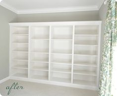 DIY:  Built-in bookshelves using IKEA units. Also includes a how-to on  removing the baseboard trim leveling the floor with plywood  securing the bookcases to the wall.  Excellent tutorial!