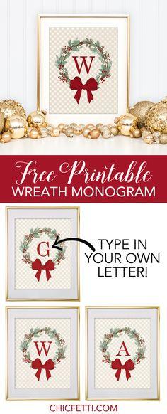 Free Printable Christmas Wreath Monogram from @chicfetti - make your own monogram!