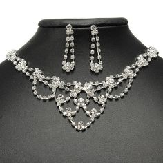 Sale 10% (3.88$) - Bridal Crystal Necklace Earrings Wedding Jewelry Set Silver Plated