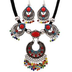 Ethnic Jewelry Sets Resin Beads Rope Choker Ikeacasa, Free Shipping