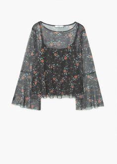 Printed tulle blouse | MANGO