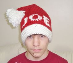 """Personalized Slouchy Hat Knit Men Hat Boyfriend Gift White Red Hat """"JOE"""" Names for Men's Hats by earflaphats on Etsy"""