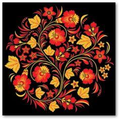 Khokhloma Hohloma Russian folk art pattern