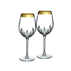 A perfect way to incorporate the beloved Waterford pattern to your registry!// $190 Waterford - Lismore Essence Gold Goblet, Pair