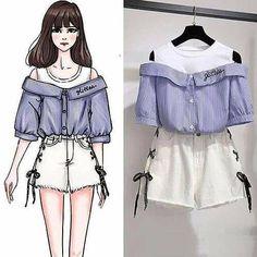 Off shoulders T - shirt Teen Fashion Outfits, Kpop Outfits, Korean Outfits, Cute Fashion, Asian Fashion, Fashion Drawing Dresses, Fashion Illustration Dresses, Fashion Dresses, Pretty Outfits