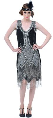 Details about 1920s GREAT GATSBY Silver/Grey BEADED FLAPPER Dress ...