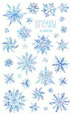 Enneigée. Clipart aquarelle hiver flocons de neige Noël