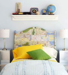 Via Midwest Living : Create a unique headboard with decoupaged maps. Keep it casual by overlapping pieces
