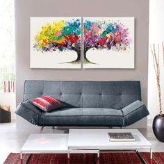 Bilder-Set Magic Tree (2-teilig) - Arcrylfarbe auf Leinwand - Bunt