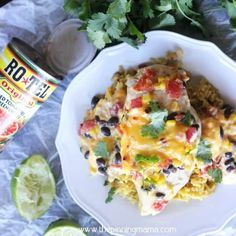5 ingredients + 1 Pan = Easy dinner everyone will love! Rotel and velveeta over chicken breast with corn, black beans. Seriously what's not to love? Easy Baked Chicken, Baked Chicken Recipes, Chicken Receipe, Skillet Chicken, Chicken Meals, Baked Dinner Recipes, Delicious Dinner Recipes, Yummy Food, Granny's Recipe