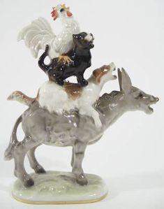 vintage jhr hutschenreuther germany pair porcelain birds on a branch figurine hutschenreuther. Black Bedroom Furniture Sets. Home Design Ideas