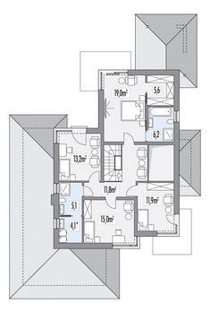 Rzut HR Carmen Magdalena lux CE Subaru Forester, Home Interior Design, Floor Plans, Homes, Home Decor, Ideas, Dibujo, Houses, Decoration Home